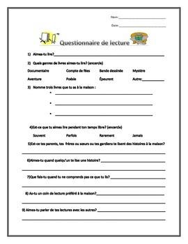 Questionnaire de lecture