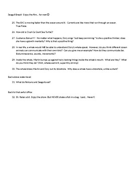 Questionnaire for the film Finding Nemo