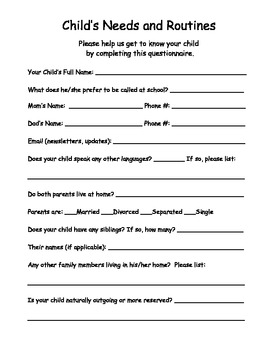 Questionnaire for Parents - Child Info