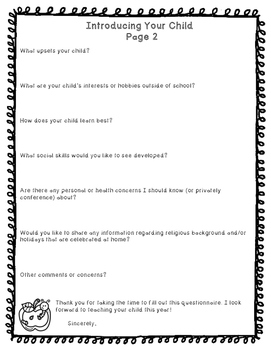 Questionnaire for Parents - Introducing Your Child