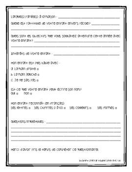 Questionnaire pour parents