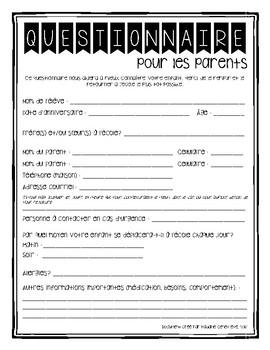 Questionnaire pour parents {FRENCH Parent Questionnaire}