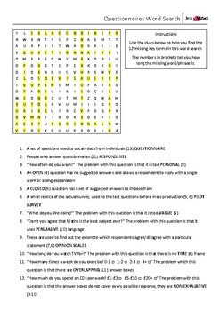 Questionnaires Key Terms Word Search