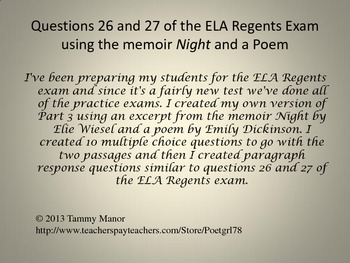 Questions 26 and 27 of the ELA Regents Exam using the memoir Night and a Poem