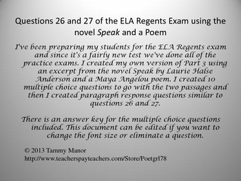 Questions 26 and 27 of the ELA Regents Exam using the nove
