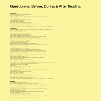 Questions: Before, During & After Reading