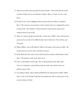Questions Canto 1-6 Dante The Inferno
