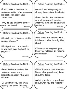 Guided Reading Question Cards (Before, During and After)