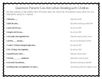 Questions Parents Can Ask When Reading With Their Child-English & Spanish