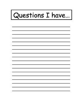 Questions Recording Sheet