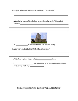 Questions / Test for DISCOVERY EDUCATION  Landform Number One