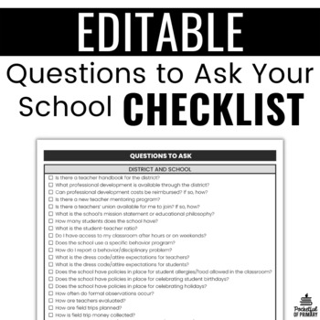 Questions To Ask Your School Organizer | EDITABLE