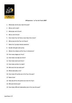 Questions Tour de France 2017