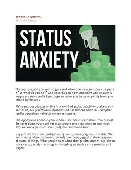 "Questions/Transcript on ""Status Anxiety,"" a School of Life video"