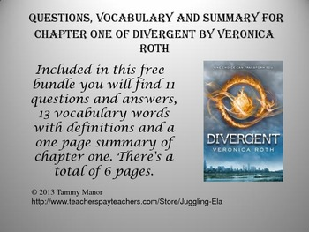 Questions, Vocabulary and Summary for  Chapter One of Divergent by Veronica Roth