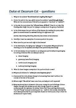 Questions - Wilfred Owen's Dulce et Decorum Est (WW1 poetry)