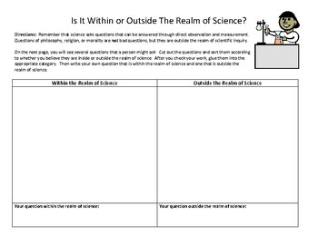 Questions Within And Outside the Realm of Science Sort