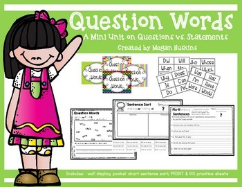 Questions Words:  An Asking vs. Telling Sentence Mini Unit