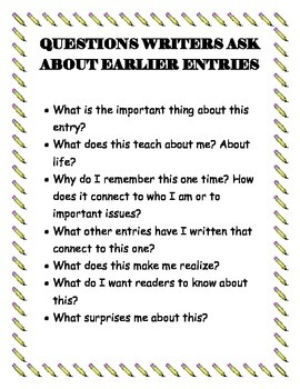 Questions Writer's Ask About Earlier Entries