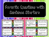 Questions about Favorite Things + Sentence Starters