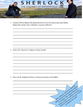 Questions and Characterization handout for BBC Sherlock's Hound of Baskerville