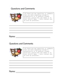 Questions and Comments Form for Back to School Night by Erica