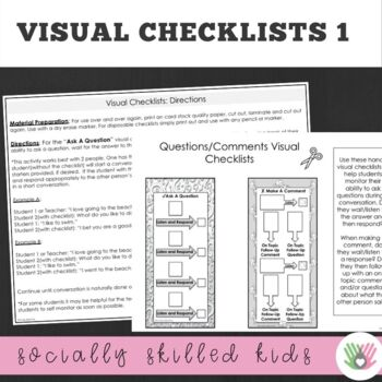 SOCIAL SKILLS: Questions and Comments~ Visual Checklists and Activities