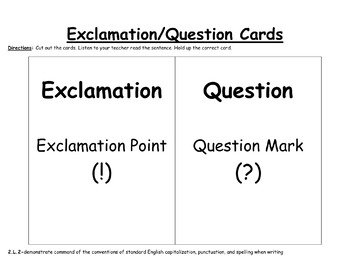 Questions and Exclamations Practice-EDITABLE! (second grade)