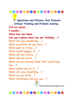 Questions and Phrases that Promote Critical Thinking and Problem Solving