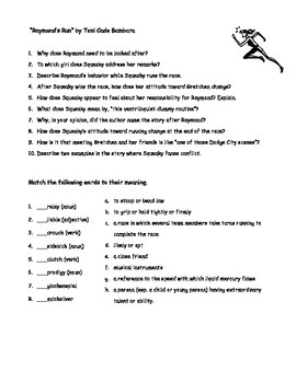 """Questions and Vocabulary for """"Raymond's Run"""""""
