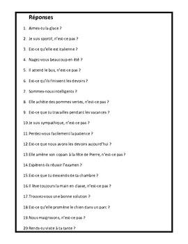 Questions avec inversion, est-ce que, n'est-ce pas, worksheet in French
