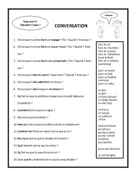 Questions, expressions avec faire, conversation, speaking in French