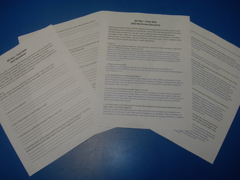 Handout/Questions for Bill Nye's Food Web DVD, w/ answers, Substitute materials