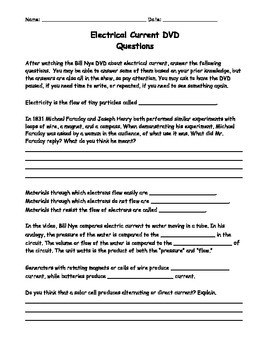 Bill Nye's Electrical Current DVD, Worksheet/Questions, Substitute Plans
