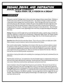 Samuel Taylor Coleridge's Kubla Khan: Dreams, Drugs, and Inspiration   Lesson