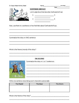 Questions for Gertrude McFuzz and The Big Brag by Dr. Seuss