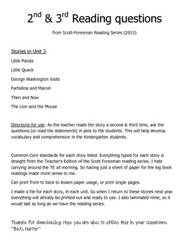Questions for Guided Reading Stories Unit 3