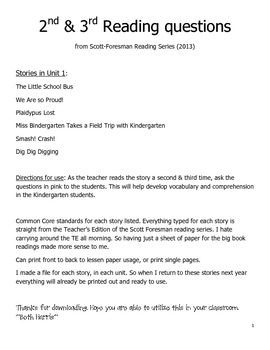 Questions for Guided Reading Stories Unit 1