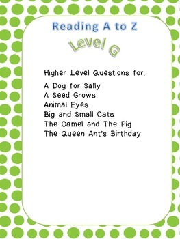 Questions for Level G Readers from Reading A to Z.