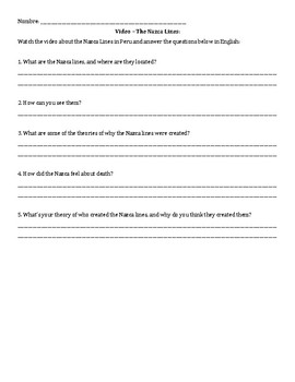 Questions for Realidades 8A Peru reading AND Video Activity about Nazca Lines