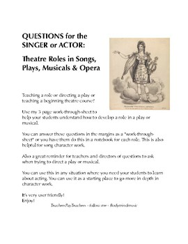 Questions for Singers/Actors - Theatre Roles in Songs, Pla