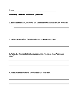 Questions for The American Revolution BrainPop video