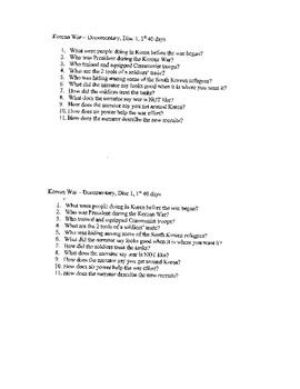 Questions for Vietnam America's Conflict Disc 1, The Forgotten War Korea Disc 1
