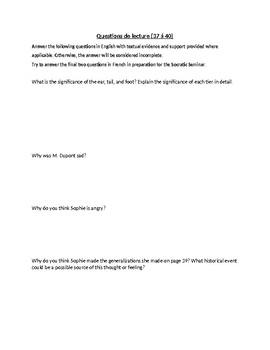 Questions for Vivre le Taureau: pages 37-40
