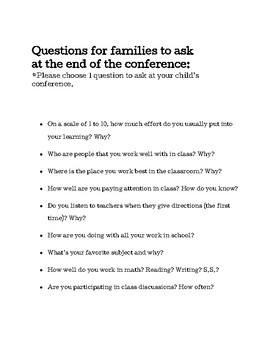 Questions for families to ask at conferences