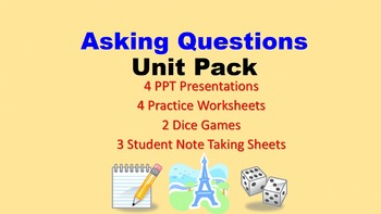 Questions in French Unit Pack: PPT Lessons, Worksheets, Dice Games, Speaking