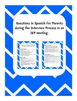 Questions in Spanish for Parents during IEP Meetings