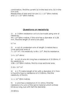 Questions on resistivity with answers