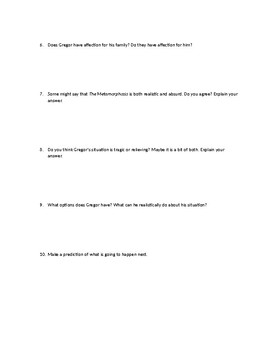 Questions over The Metamorphosis by Franz Kafka Part Two ; Comprehension