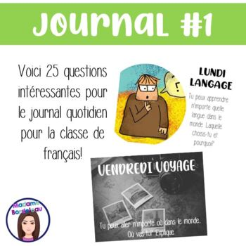 Questions pour écrire au quotidien - Daily French Journal Prompts